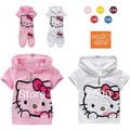 Free shipping hello kitty female children casual cotton short-sleeve clothing set ,baby girls clothes( t-shirt+pants)for summer