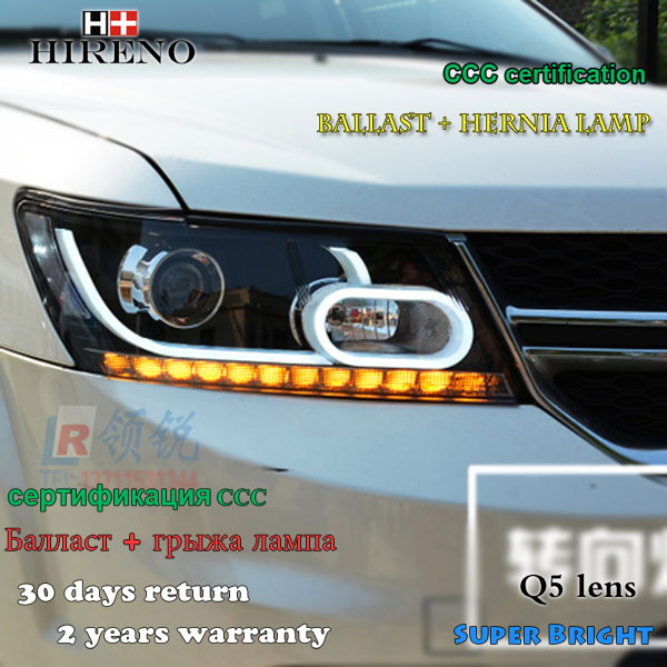 Hireno Car styling Headlamp for 2009-2017 Dodge Journey Headlight Assembly LED DRL Angel Lens Double Beam HID Xenon 2pcs hireno car styling headlamp for 2007 2011 honda crv cr v headlight assembly led drl angel lens double beam hid xenon 2pcs