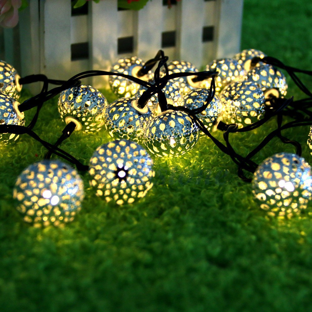 Hit 20 head metal hollow spherical solar festival light string of Christmas lights LED holiday lights|Lighting Strings| |  - title=