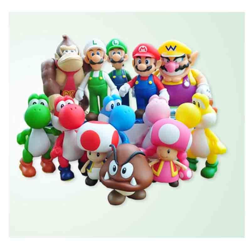 цены  21 styles 8-15cm Super Mario Bros Luigi Mario Yoshi Goomba Bowser Wario Donkey Kong Toad Toadette Action Figure PVC Toys Dolls
