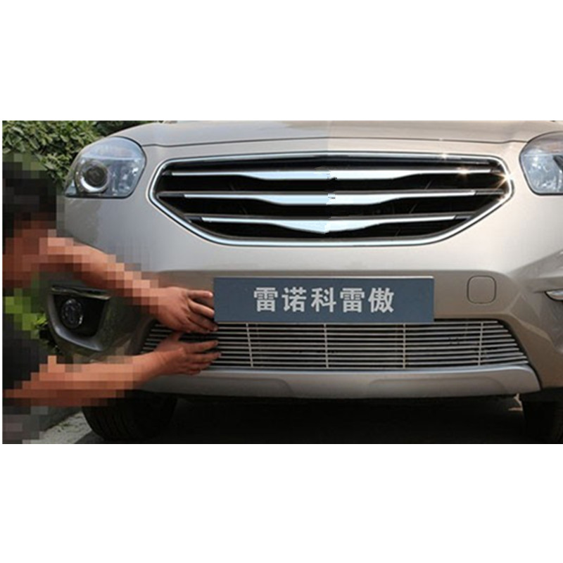 High quality stainless steel Front Grille Around Trim Racing Grills Trim For 2012-2014 Renault Koleos high quality stainless steel car window trim strip 16pcs for 2013 2014 renault koleos