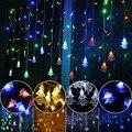 Ao ar livre lâmpada decorativa de cordas AC 220 V Janela xmas Os beirais trilhos Da Árvore de Natal Pingente decoração corda lâmpada LED Cauda cinto plugue