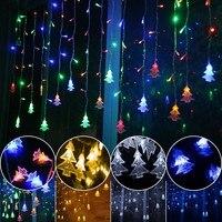 Im freien dekorative lampe string AC 220 V Fenster weihnachten Der traufe geländer Weihnachtsbaum Anhänger decor led-lampe string gürtel Schwanz stecker
