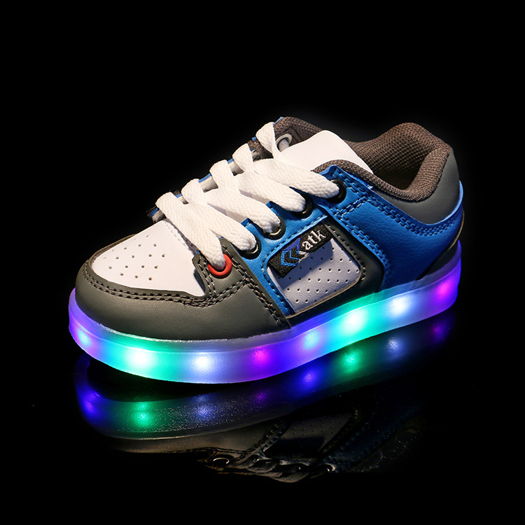2017 New Kids LED Light Shoes Lace Children Baby Leisure Sports Fashion Sneakers Baby Boy Girl Lighted Shoes Hot Selling new fashion children usb charging led light shoes kids sneakers fashion luminous lighted boy girl shoes chaussure led enfant