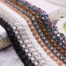 1Yard Pearl Beaded Lace Trim Mesh Lace Ribbon Fabric Clothes Decoration Wedding Dress Collar Sleeve African Lace Fabric Applique