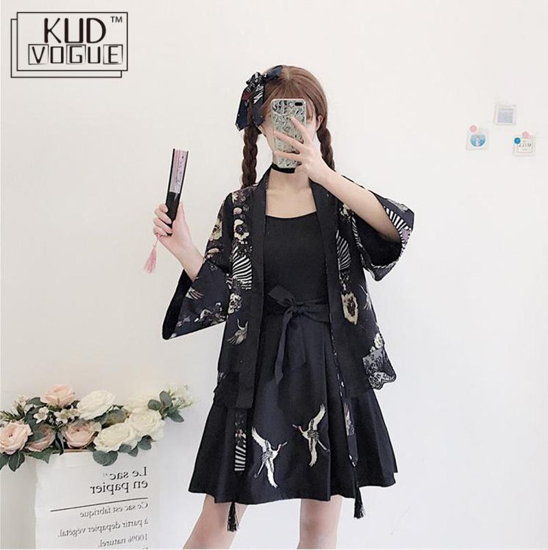 Harajuku Japanese Style Kimono Clothing Set Woman Fashion Yukata Outfits Skirt Haori Cardigans 2019 Japanese Traditional Clothes