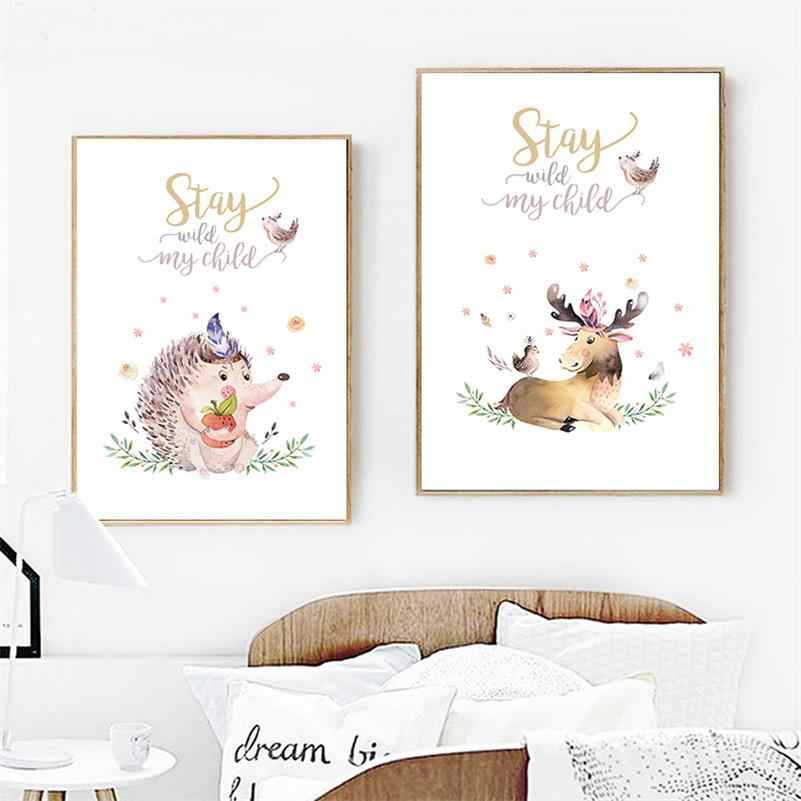 Watercolor Woodland Animal Canvas Child Posters Nursery Quotes Print Wall Art Painting Nordic Kids Bedroom Decoration Pictures