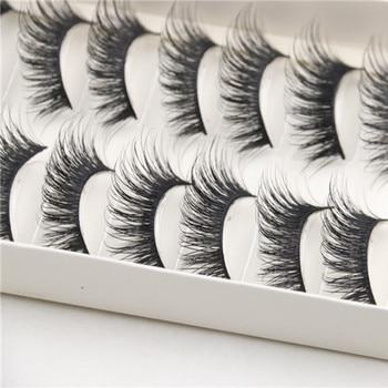 Hot Selling Attractive10 Pairs False Eyelashes Beauty Thick Long Cross Black Band Fake Eye Lashes Party Makeup False Eyelashes Beauty Essentials