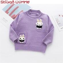 Осенняя одежда для маленьких девочек с длинными рукавами и круглым вырезом; пулловер для принцессы с рисунком кролика; вязаные Джемперы; Повседневные детские свитера