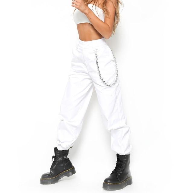 size 40 c5fd3 6ab8b High waist pants loose joggers women harem pants streetwear punk black white  Hip Hop pants women capris trousers