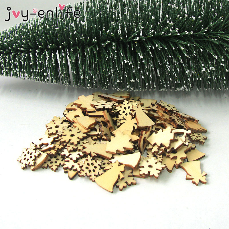 100pcs Natural Wood Christmas Ornaments Mini Reindeer Tree Snowflakes Bell Santa Christmas Decorations For Home 2020 Navidad in Pendant Drop Ornaments from Home Garden