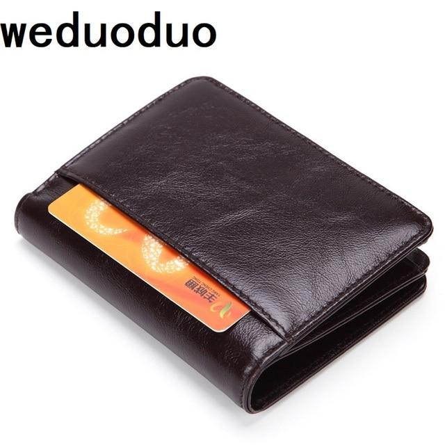 c98fd53d31d97c Weduoduo Marke Echtem Leder Männer Brieftasche Mode Kurze männer Brieftasche  Kreditkarte Halter für Männer und Frauen Männlichen Standard geldbörse