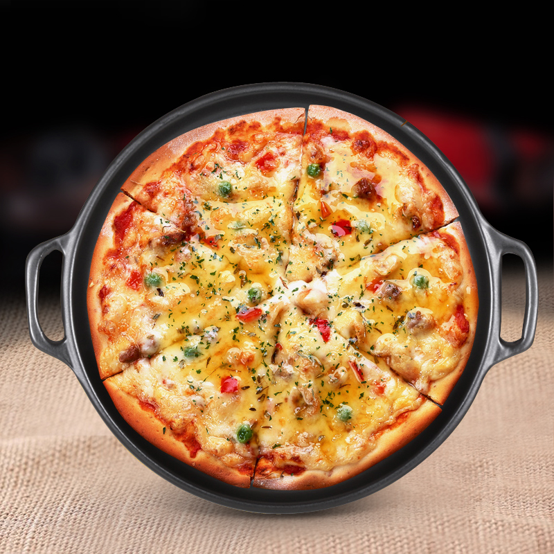 Round Ceramic Pizza Pan With Handle For Baking Pizza Mold