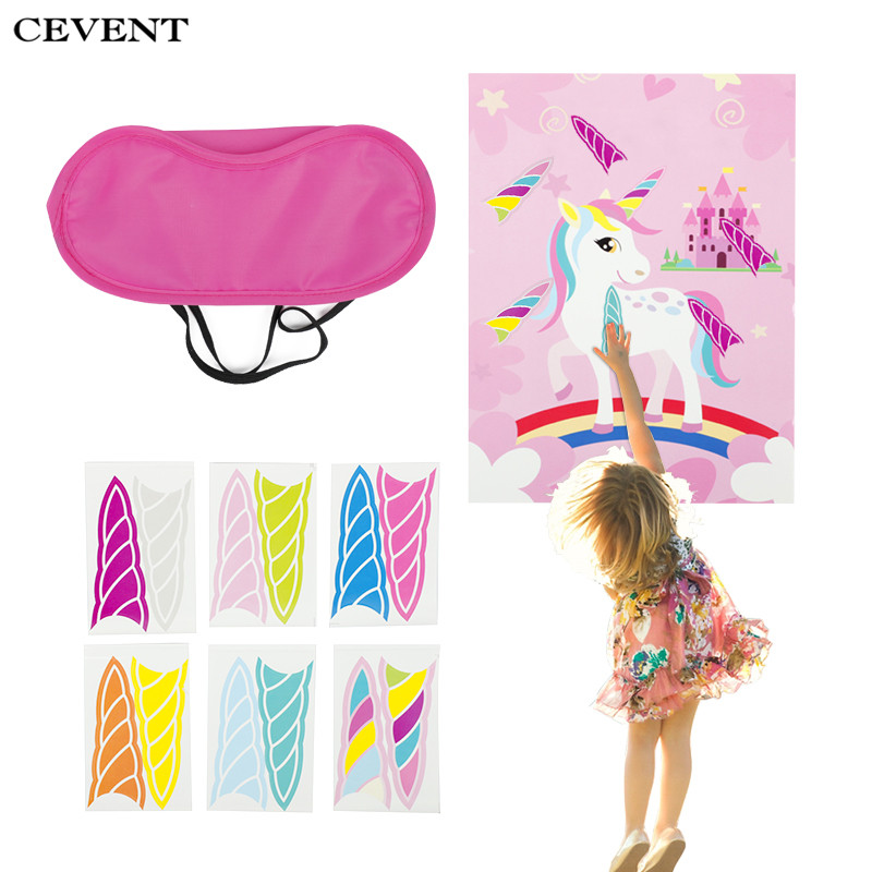 CEVENT 1set The Horn On Unicorn Party Game Kids Birthday Party Rainbow Unicorn Decorative Festive Party Decoration Home GameCEVENT 1set The Horn On Unicorn Party Game Kids Birthday Party Rainbow Unicorn Decorative Festive Party Decoration Home Game