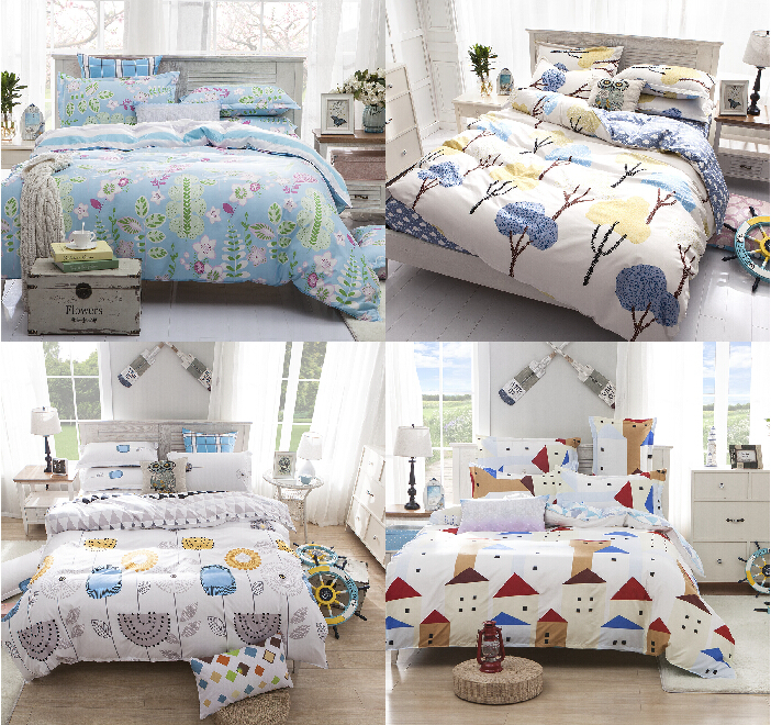 Queen Size Bedding Set Poly Cotton Blue Grey Bed Linens