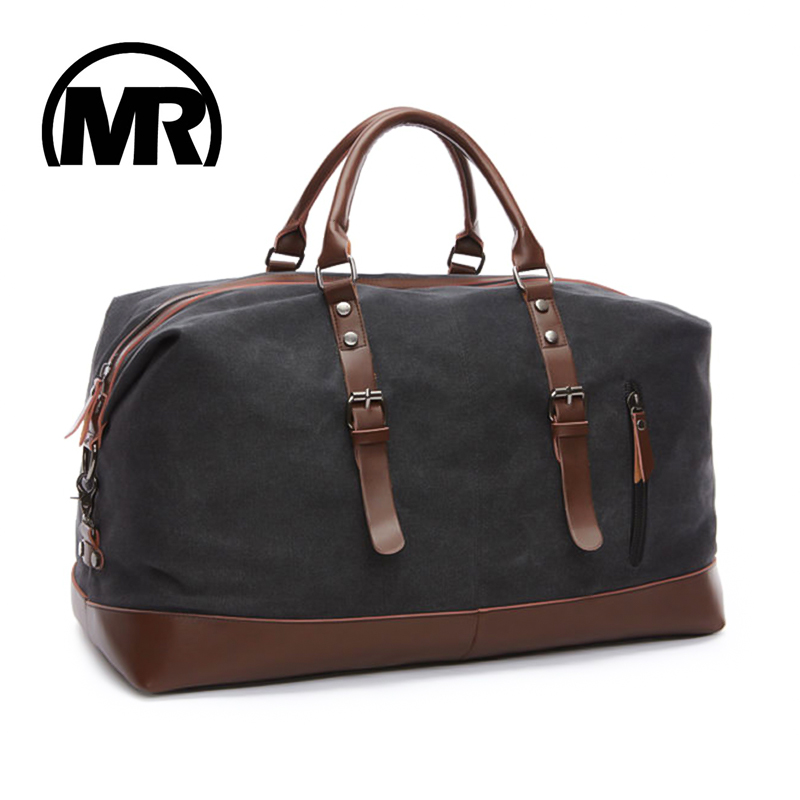 MARKROYAL Canvas Leather Men Travel Bags Menjalankan beg bagasi lelaki Duffel Bags Handbag Travel Tote Large Weekend Bag Overnight