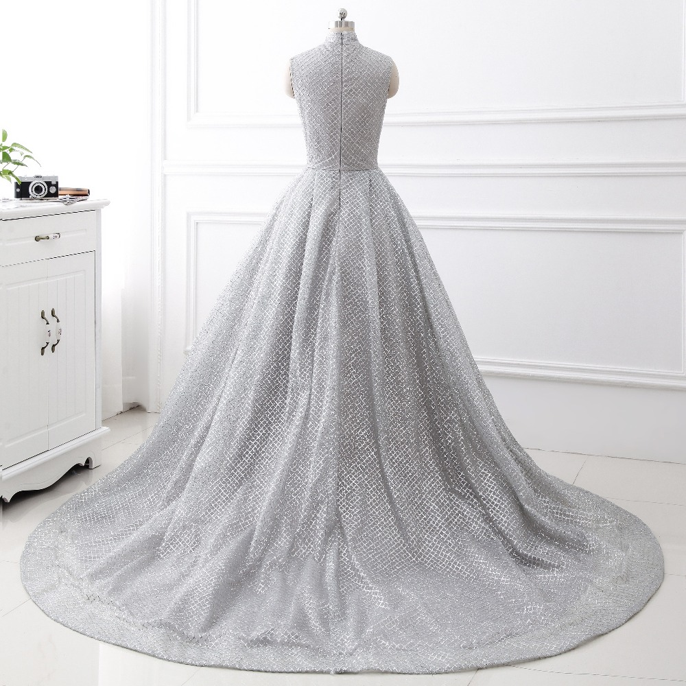 Aliexpress.com   Buy Newest Bronzing net fabric silver glitter evening  dress 2017 high neck sleeveless chapel train luxury robe de soiree from Reliable  robe ... bf5b5246368f