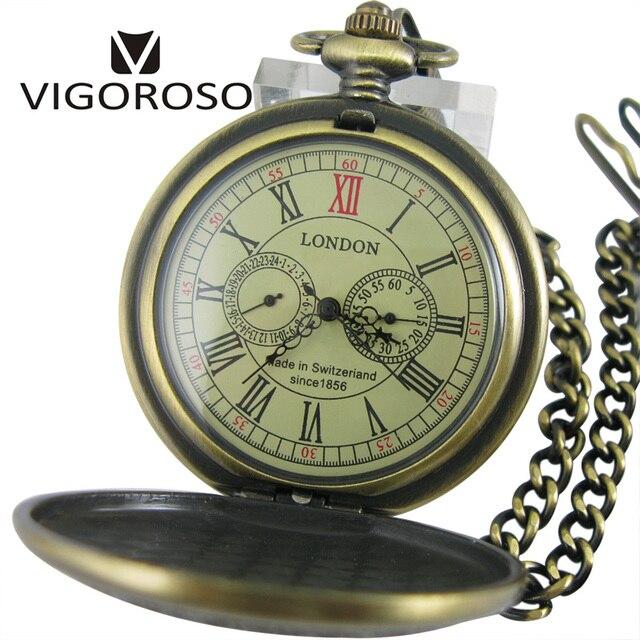 9eeda1672e482 Montre de poche mécanique de luxe à deux sous-cadrans remontage à la main  en alliage de Bronze chaîne arrière gousset Vintage rétro horloge en ...