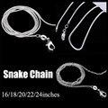 2017 серебряные ювелирные изделия ожерелье 16 18 20 22 24 дюйм(ов) Омар Застежка серебряный змея цепи ожерелье для женщин мужчин