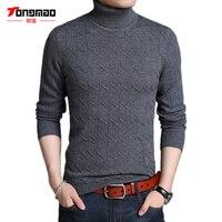 100 Pure Wool Men Sweater Autumn Winter Warm Turtleneck Solid Color Men Pullover Fashion Slim Fit