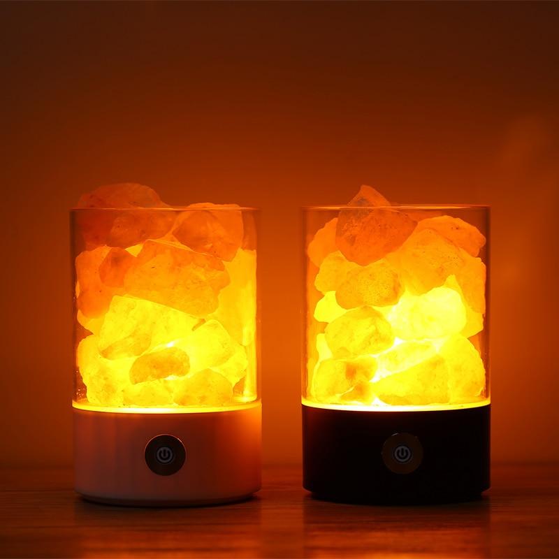 USB cristal sel veilleuse himalayen cristal roche sel lampe LED purificateur d'air veilleuse Rechargeable chevet lampe créative
