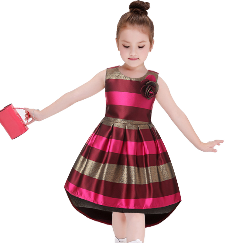 Europe America Kids Fashion Clothing Baby Girl Princess Dress Red wine stripe Sleeveless Dovetail Dresses for Toddler Girl Child girls europe and the united states children s wear red princess long sleeve princess dress child kids clothing red bow lace