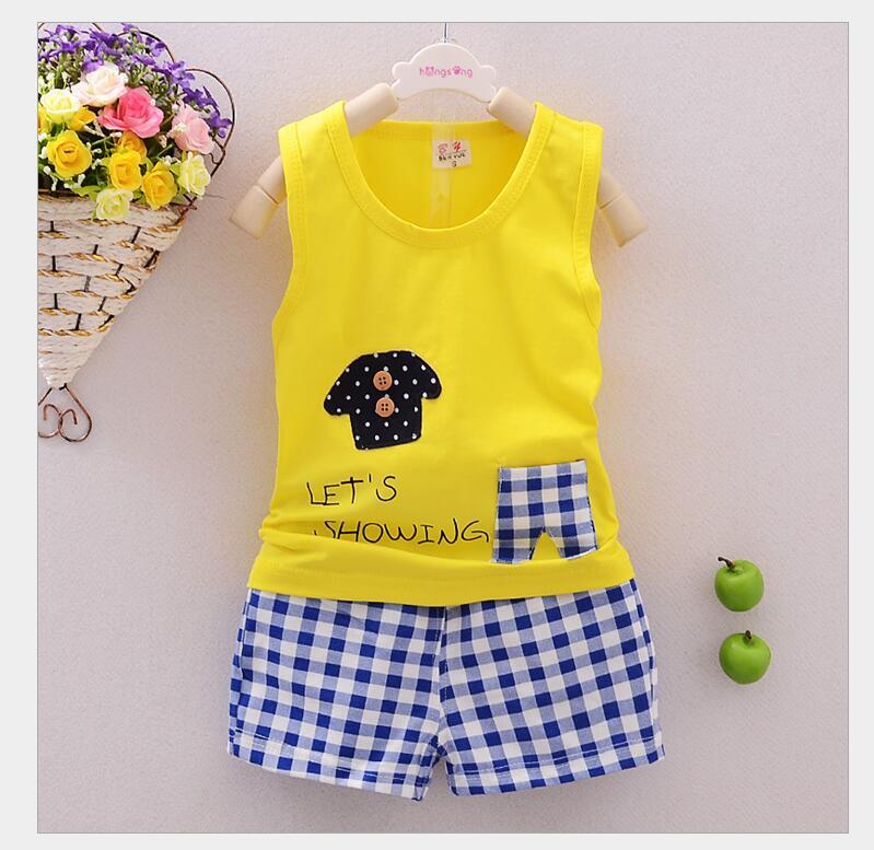 2016 baby clothes summer Set cartoon cotton sleeveless