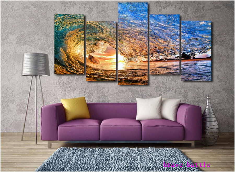 Sunset Light Reflecting In The Wave Canvas Painting Living Room Home Decor Modern Mural Art Oil Painting