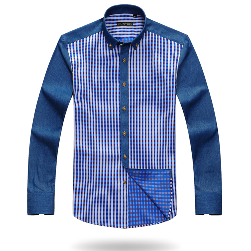 614fc9e1d4 CAIZIYIJIA 2017 Deep Color Plaid Striped Shirts Men Square Collar Button  Down Long Sleeve 100% Cotton Casual Slim Fit Shirt-in Casual Shirts from  Men's ...
