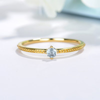 Solid 14k Yellow Gold Engagement Ring Natural Aquamarine 4 5mm Round Wedding Party Ring Trendy Fine