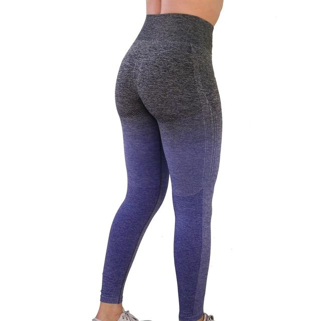 Nepoagym נשים Ombre חלק חותלות בטורקיז גבוהה מותן יוגה מכנסיים אישה ספורט חותלות טייטס אימון כושר כושר חותלות