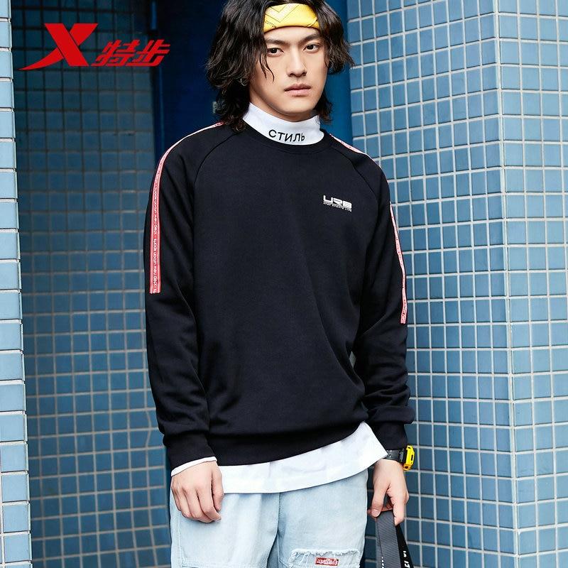 881329059205 Xtep мужские спортивные толстовки свитер осень повседневный спортивный свитер с круглым вырезом пуловер свитер с длинными рукавами - Цвет: black red