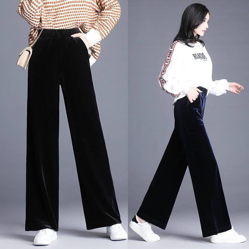 2019 New women's large size Black Vintage Solid Velvet High Waist Trousers female Retro plus size loose Velvet   wide  -  legged     pants