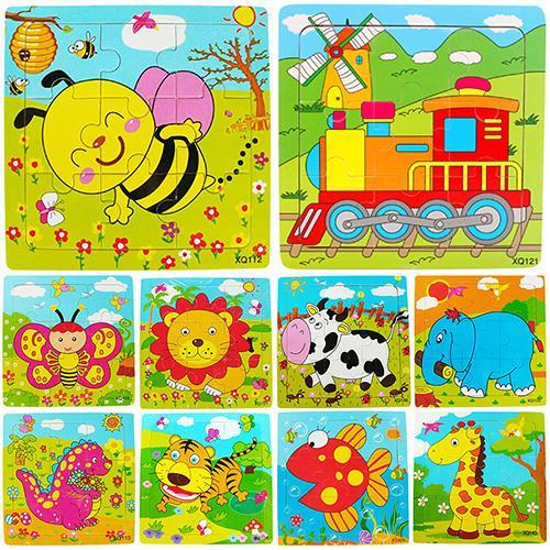 Многоцветный Животные деревянный 9 шт. красочный пазл игрушки малыша для детей 8py5