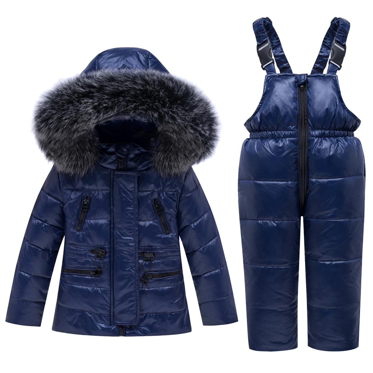 Hiver enfants Ski costume coupe-vent chaud garçons vêtements ensemble veste + salopette garçons vêtements ensemble 1-5 ans enfants neige costumes vraie fourrure