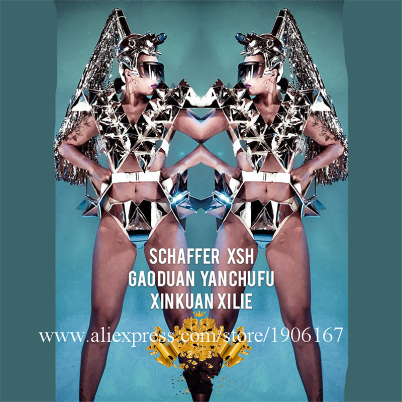 Nightclub GOGO Women's Mirror Metal Triangle Body Lights Costumes Space Stars Costumes04