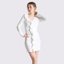 Весна Для женщин пикантные белые облегающее мини-платье с длинными рукавами оборками Tight глубокий v-образным вырезом с коротким тонкий вязаный Вечеринка клуб Платья для женщин