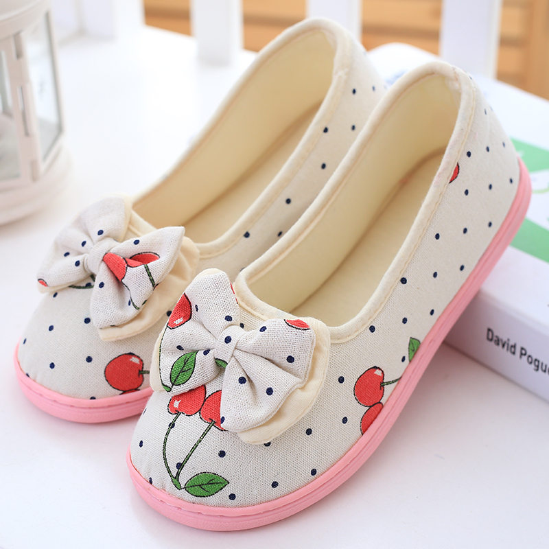 Lovely soft bottom ladies slippers of the spring and autumn period and the cotton shoes bowknot Home leisure cotton slippers lovely toddler first walkers baby boys and girls cotton shoes soft bottom hook sneakers i love mom dad