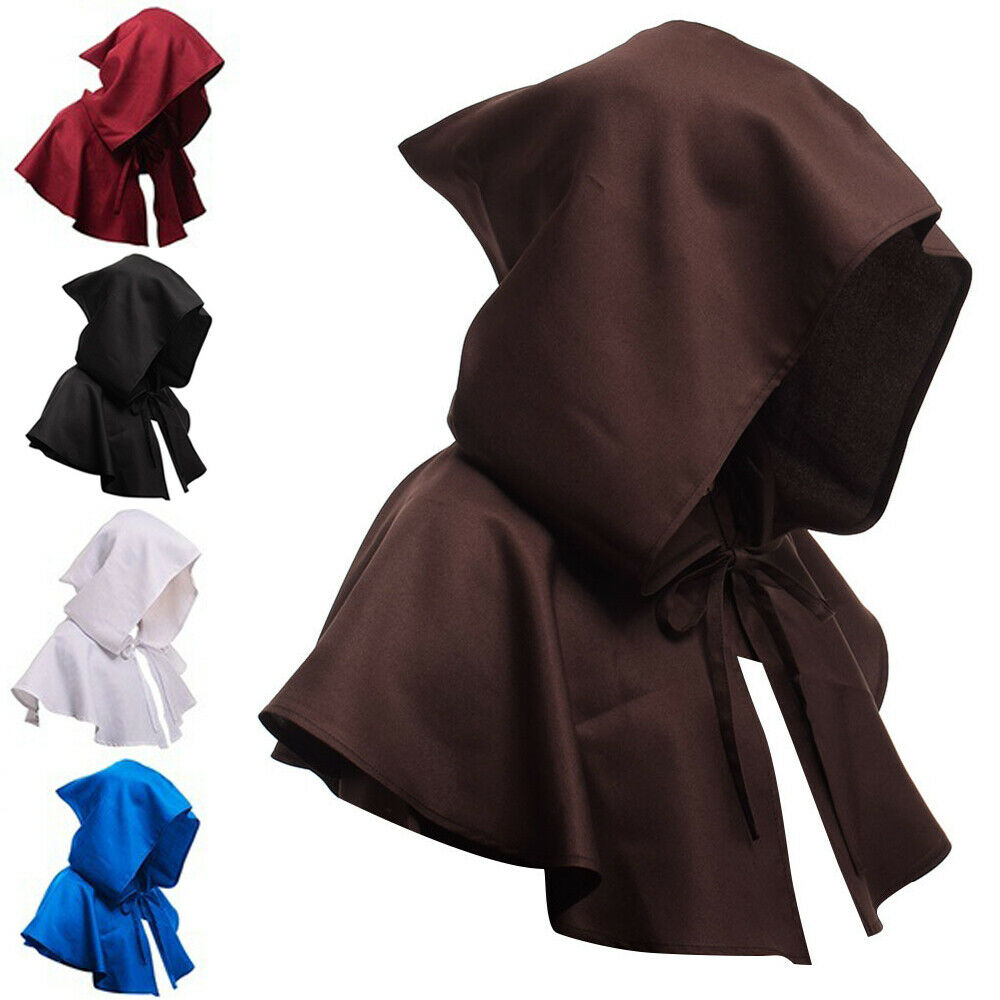 Novelty Man Hooded Cloak Gothic Devil Cape Skullies Beanies Costume Medieval Witch Wizard Fancy Dress