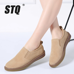Image 1 - STQ 2020 Autumn Women Flats Sneakers Shoes Women Slip On Flat Loafers Suede Leather Shoes Handmade Boat Shoes Black Oxfords 978