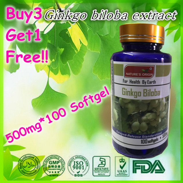 (Buy 3 Get 1 Free) Ginkgo Biloba Extract (24/6) Anti-aging enhance memory  500mg X 100 Softgel capsules