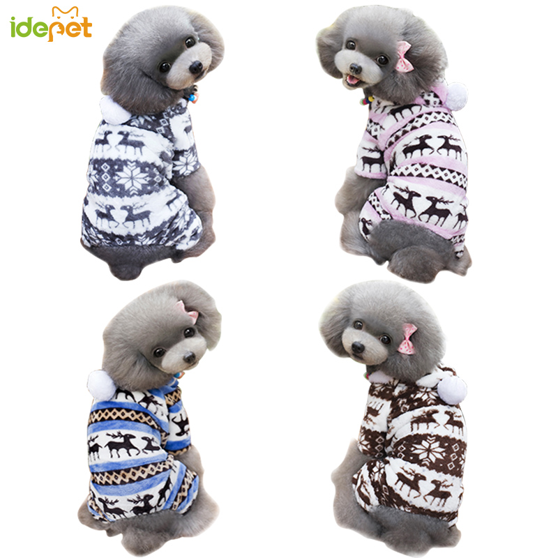 Ձմեռային շների հագուստ Snowflake Fleece Dog Dog Dog Dog Model Model Coral Velvet Deer Christmas Puppy Coat հանդերձանքով Hoodie 40S1