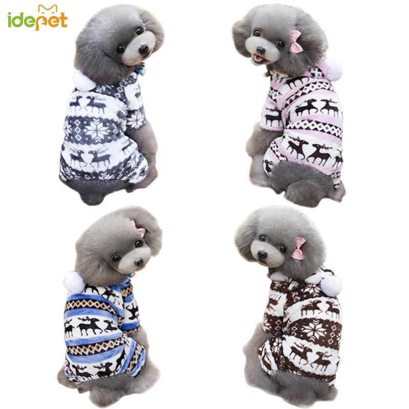 Musim dingin Pakaian Anjing Snowflake Fleece Dog Pakaian Anjing Pakaian Pola Beludru Karang Rusa Natal Puppy Coat Outfit Hoodie 40S1