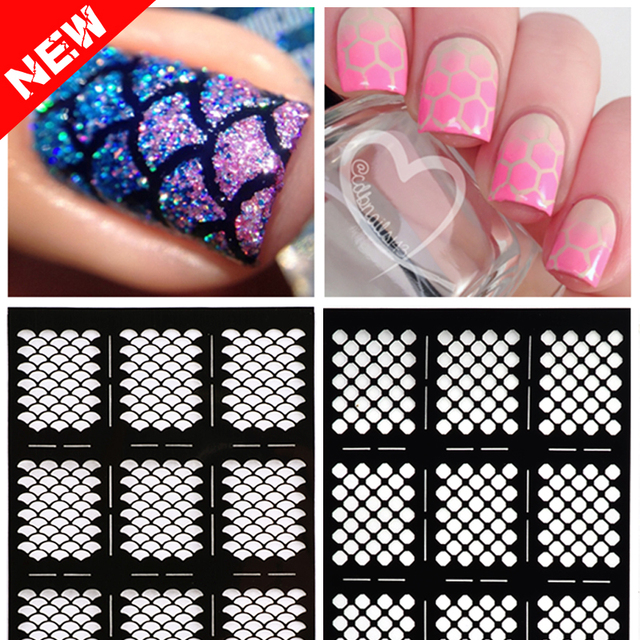 1sheet New Reusable Stamping Nail Art Hollow Black Templates Stencils Stickers Vinyls Image Guide Polish Manicure