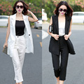 In the summer of 2015 new women's large size women fashion cotton long vest suit pants nine two piece suit