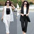 No verão de 2015 tamanho grande das mulheres novas moda feminina de algodão longo colete terno calças nove duas peças terno