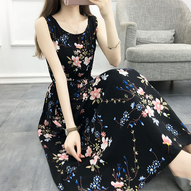 Women Summer Bohemian Dress 2018 Ladies Maxi Casual Floral Beach Boho Cotton Dresses Vintage Flower Long Female Elegant SunDress