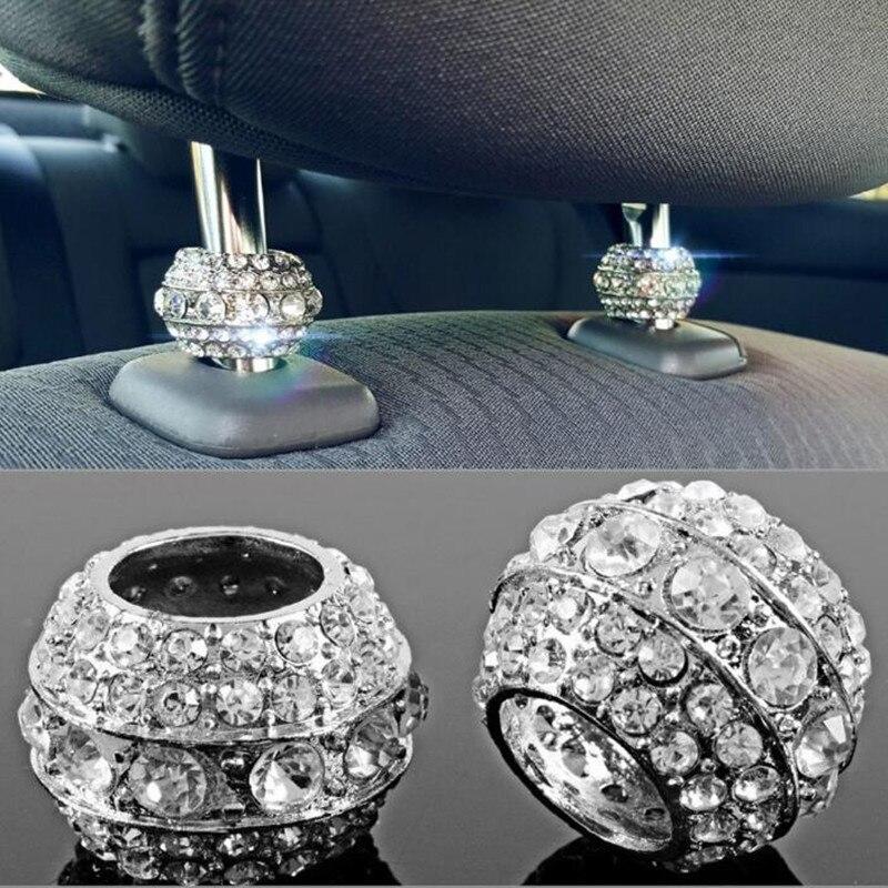 2 X Icy Crystal Car Seat Headrest Collar Decor Charms Diamond Bling Car Interior Accessories For Women Rhinestone Universal