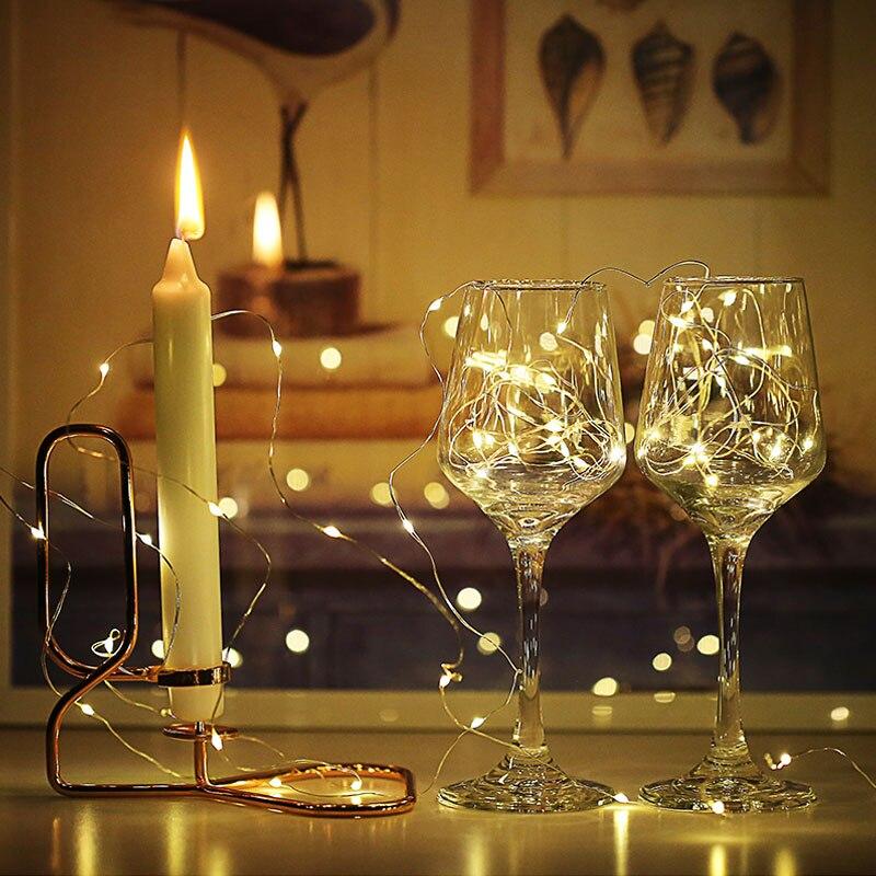 Светодиодный свет шнура 10 м 5 м 2 м 3AA Батарея питание Медный провод строки Открытый Фея Света на Рождество гирлянда вечерние свадебные