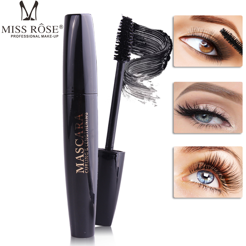 Miss Rose 4D fiber lash mascara waterproof long lasting Curling Thick black mascara 4D silk fiber lashes mascara makeup in Mascara from Beauty Health